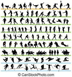 silhouettes, 116, sport, ensemble