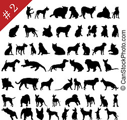 silhouettes, 2, #, animaux familiers