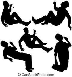 silhouettes, 2, -, drickande
