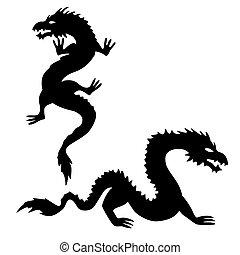 silhouettes, 2, ensemble, deux, dragon