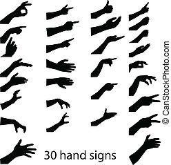 silhouettes, 30, handen