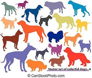 silhouettes-4, conjunto, perros, colorido