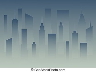 Silhouettes a big city in the dusk. Megapolis in the fog. Buildings of the city in the dark. Nightfall town. vector illustration.