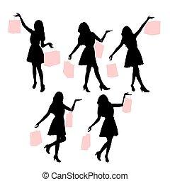 silhouettes, achats, femmes