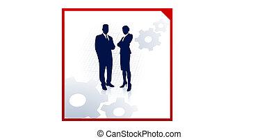 silhouettes affaires, engrenages, fond, équipe, constitué