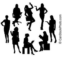 silhouettes, affaires femme, activité