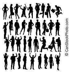 silhouettes, affaires gens, activité