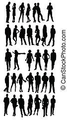 silhouettes, affaires gens