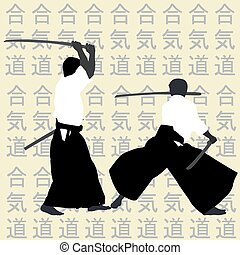 silhouettes,  aikido, hommes
