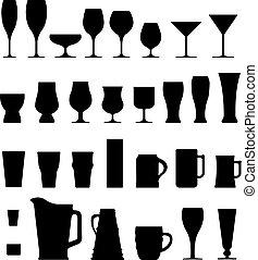 silhouettes, alcool, lunettes, vecteur