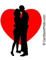 silhouettes, amants, deux
