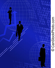 Silhouettes and Digital Numbers - Abstract background with...