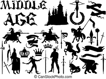 silhouettes and icons on the medieval theme. Black and white...