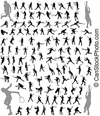 tennis players - Silhouettes and shadows of tennis players,...