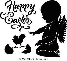 Silhouettes angel and baby chick Happy Easter