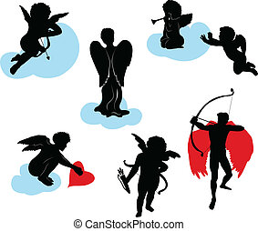 silhouettes, anges