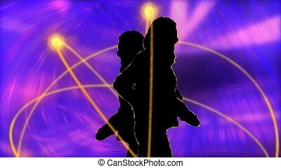 silhouettes, animation, danse