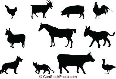 silhouettes, animaux, ferme