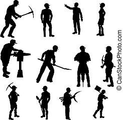 silhouettes, anläggningsarbetare