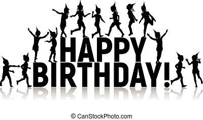 silhouettes, anniversaire, lettres, enfants, heureux