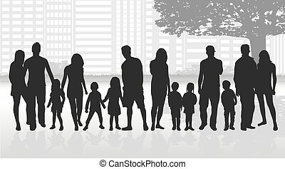 silhouettes, arbre., famille, sous