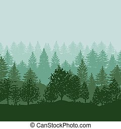 silhouettes, arbres, forêt, fond