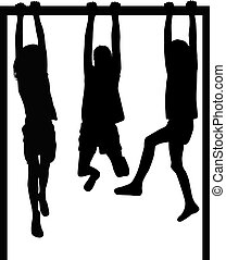 Silhouettes athletic children.