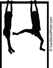 Silhouettes athletic children.