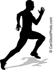 silhouettes., atleta, carrera, corriente