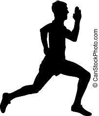 silhouettes., atleta, corsa, correndo