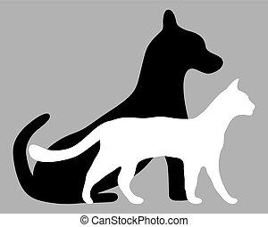 silhouettes, av, a, katt, och, a, hund