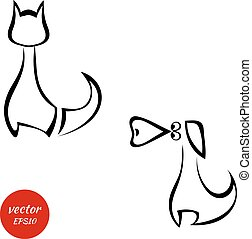 silhouettes, av, a, katt, och, hund, isolat