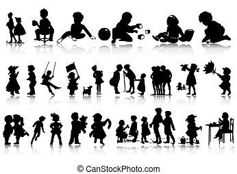 silhouettes, av, barn, in, olika, situations., a, vektor,...