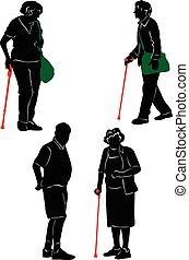 silhouettes, av, den, äldre, till promenera, och, rest.