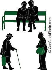 silhouettes, av, den, äldre, till promenera, och, vila