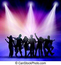 silhouettes, av, folk, dansande