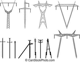 silhouettes, av, ledningsstolpar, transmission