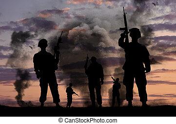 silhouettes, av, militär, tjäna som soldat, med, vapen