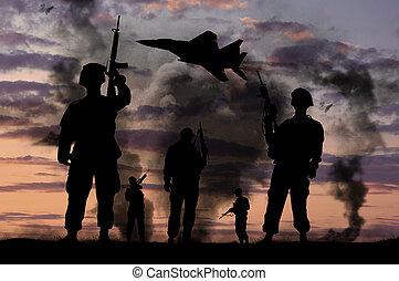 silhouettes, av, militär, tjäna som soldat, med, vapen, och, kämpe