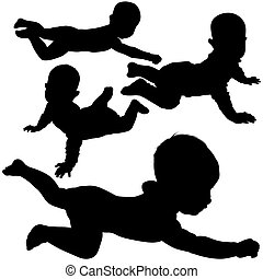 Silhouettes - Baby 4 - High detailed black and white illustrations.