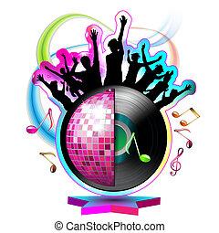 silhouettes, balle, danse, disco