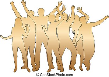 silhouettes., ballo, persone