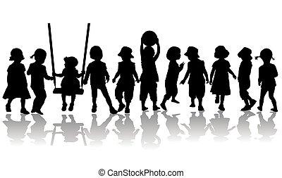 silhouettes., bambini