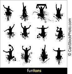 silhouettes, bannière, publicité
