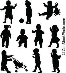 silhouettes, barnen
