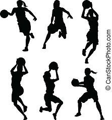 silhouettes, basketbal, vrouwlijk, vrouwen