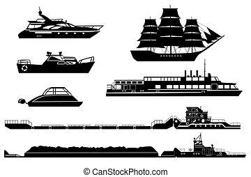 silhouettes, bateaux
