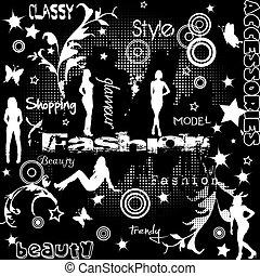silhouettes, begrepp, mode, kvinnor