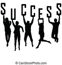silhouettes, begrepp, ung, framgång, lag