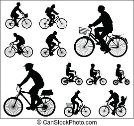 silhouettes, bicyclists